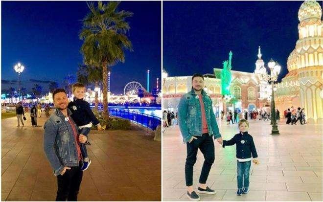 Сергей Лазарев с сыном на отдухе в Дубае