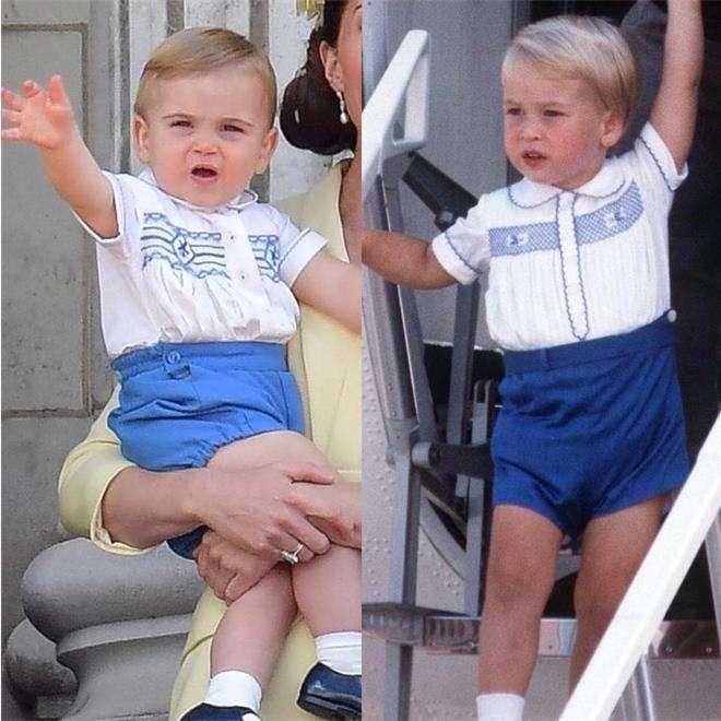 Принц Уильям и принц Луи на параде в честь дня рождения королевы Елизаветы II в одинаковых костюмах