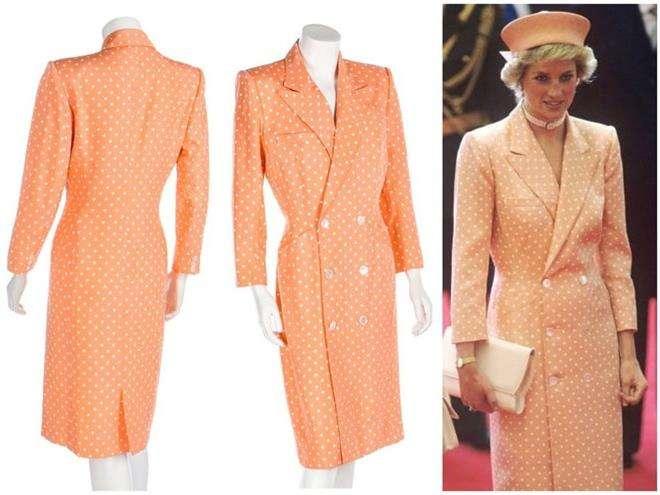 Оранжевое платье в горох принцессы Дианы от дизайнера Кэтрин Уолкер, сшитое для визита в Турцию