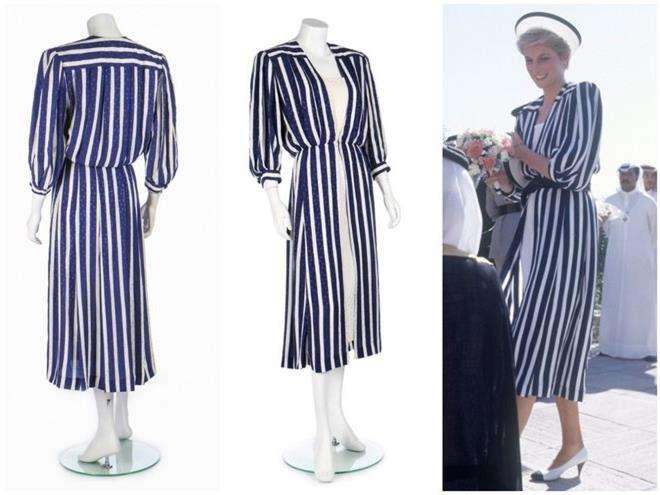 Сине-белое платье в полоску принцессы Дианы от Элизабет Эммануэль для визита в Бахрейн