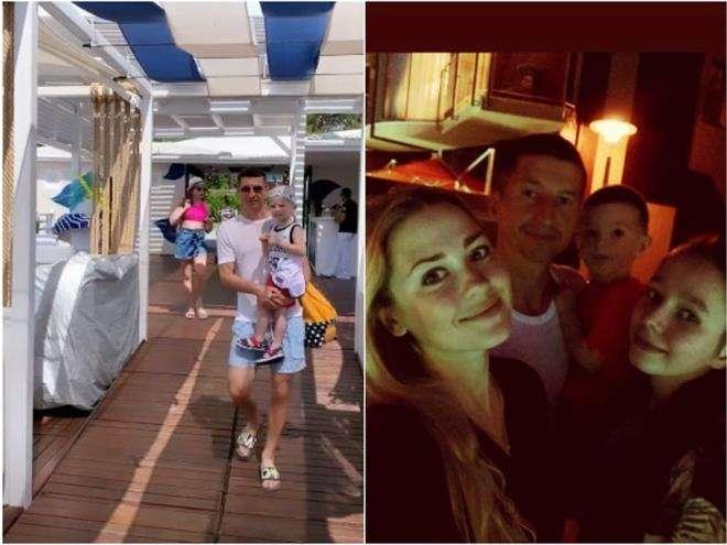 Евгений Алдонин с супругой Ольгой и детьми на отдыхе