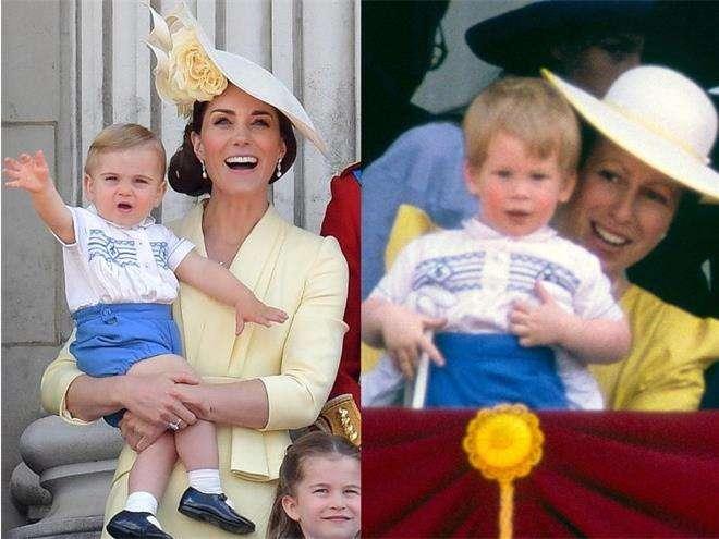Принц Гарри и принц Луи на параде в честь дня рождения королевы Елизаветы II в одинаковых костюмах