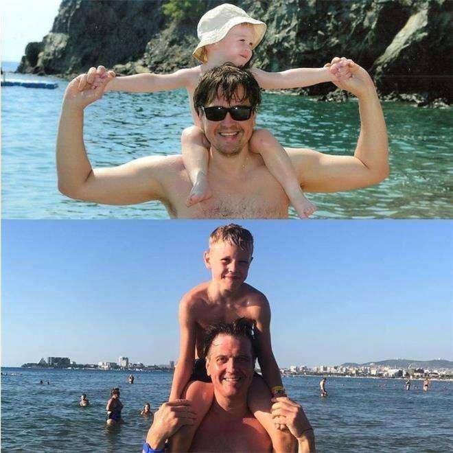 Денис Матросов с сыном тогда и сейчас