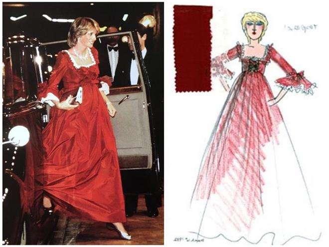 Красное платье для оперы принцессы Дианы от дизайнера Дэвида Сэссуна