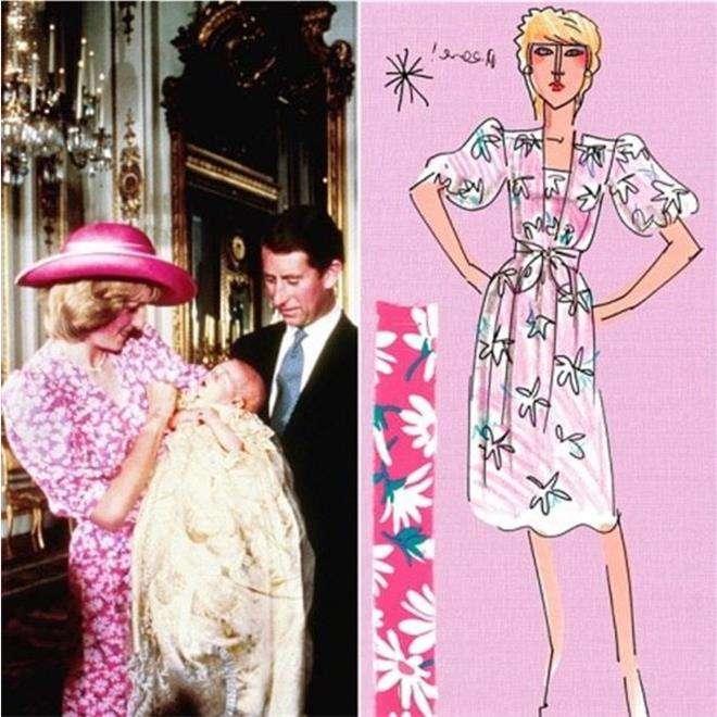 Розовое платье с крестин принца Уильяма от дизайнера Дэвида Сэссуна