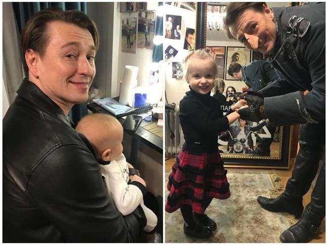 Сергей Безруков с сыном и дочкой