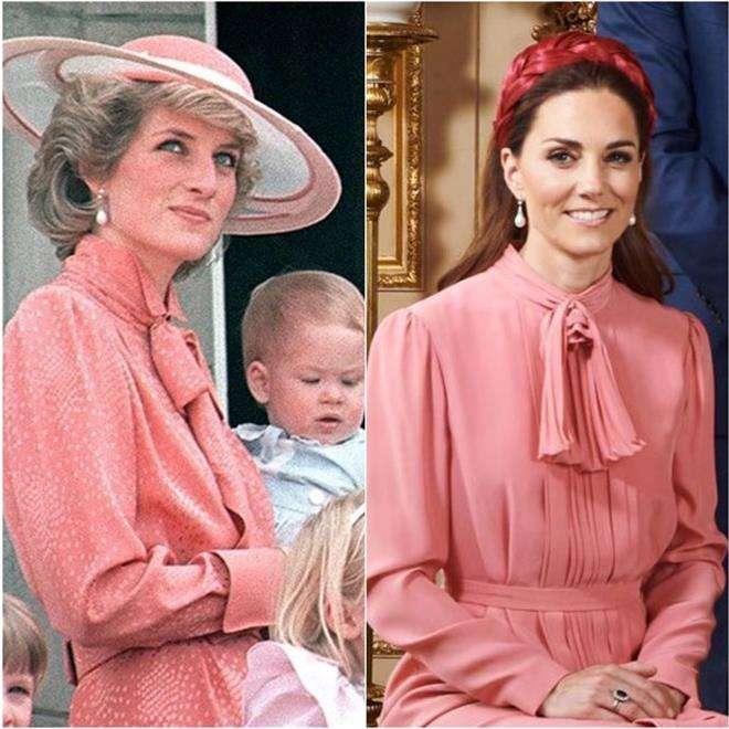 Кейт Миддлтон и принцесса Диана в похожих нарядах