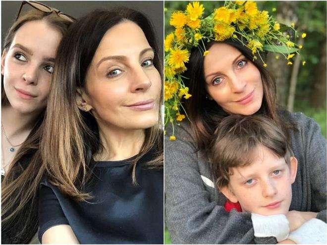 Евгения Крюкова с дочкой Евдокией и сыном Михаилом