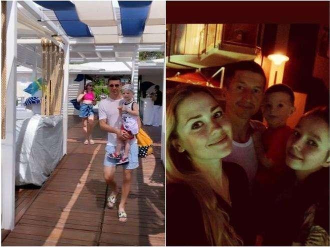 Евгений Алдонин с детьми и женой на отдыхе